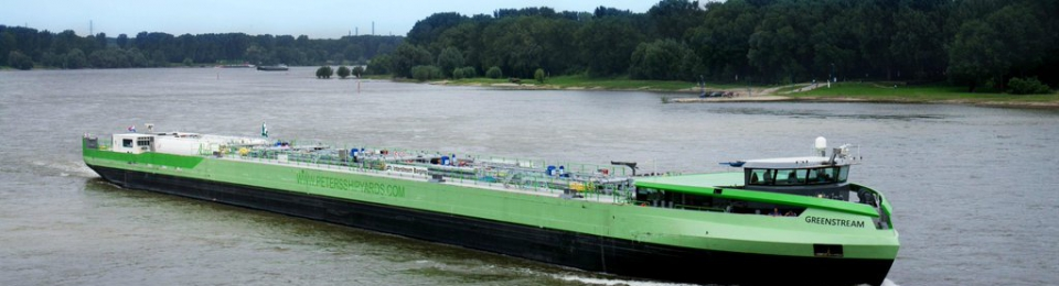 The LNG-powered inland barge Greenstream; future vessels like this could receive financing from a new EIB-backed facility; meanwhile its operator AMS has contracted to buy LNG bunker fuel from Titan (Photo credit: Shell, via Twitter)