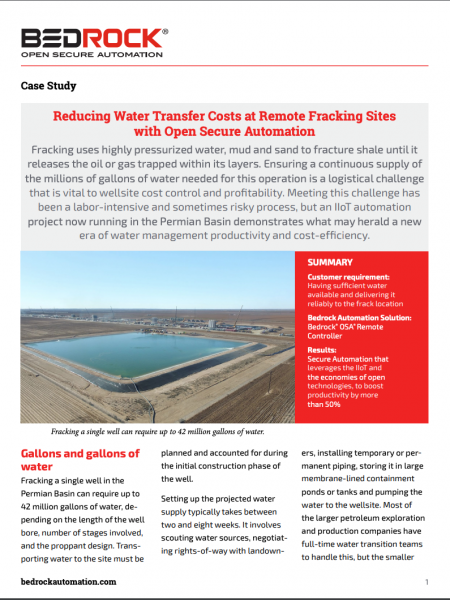 Reducing Water Transfer Costs At Remote Fracking Sites With Open Secure Automation