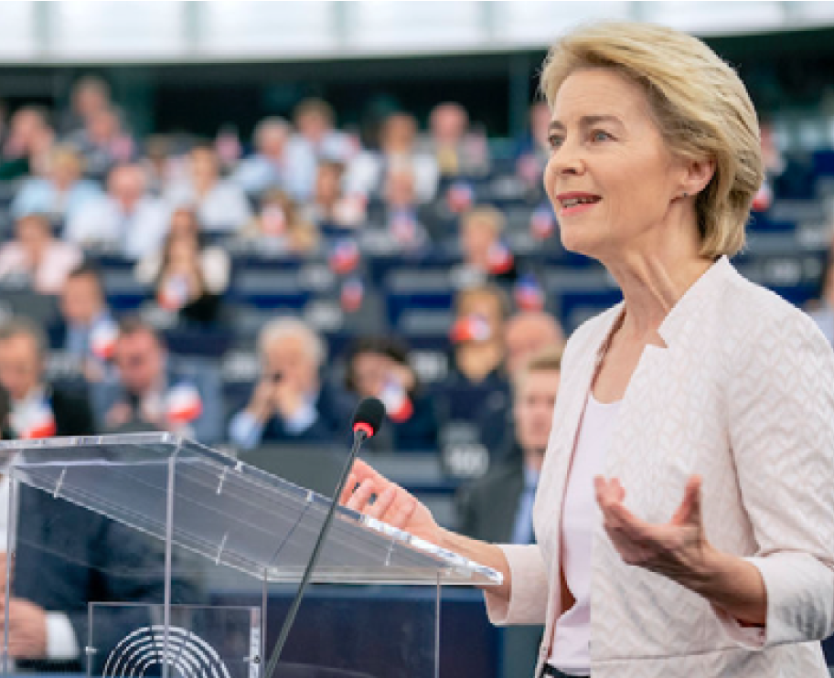 Ursula von der Leyen addressing the European Parliament  Source: Climate Home News