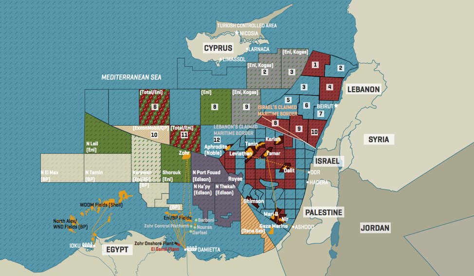 Figure 5: Eastern Mediterranean EEZ, gas-fields and LNG terminals